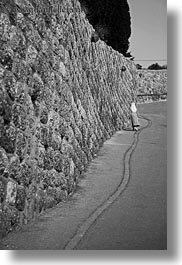 along, black and white, israel, jerusalem, middle east, nuns, streets, vertical, walking, walls, photograph