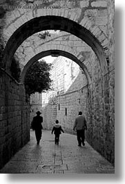 black and white, israel, jerusalem, middle east, people, streets, tunnel, vertical, walking, photograph