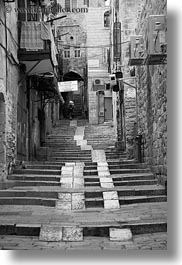 black and white, going, israel, jerusalem, middle east, stairs, streets, vertical, photograph