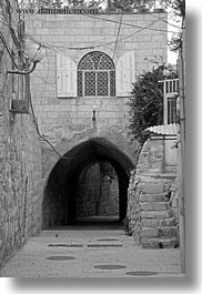 black and white, israel, jerusalem, middle east, stairs, streets, tunnel, vertical, photograph