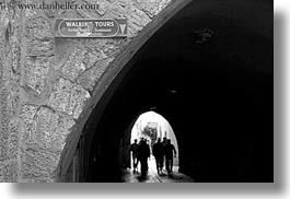 black and white, horizontal, israel, jerusalem, middle east, signs, streets, tours, walking, photograph