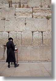 clothes, hats, israel, jerusalem, jewish, men, middle east, praying, religious, temples, vertical, walls, western wall, photograph