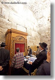 beards, clothes, hats, israel, jerusalem, jewish, men, middle east, people, praying, religious, temples, vertical, western wall, photograph