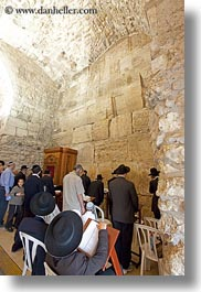 clothes, hats, israel, jerusalem, jewish, men, middle east, praying, religious, temples, vertical, western wall, photograph