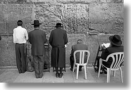black and white, clothes, hats, horizontal, israel, jerusalem, jewish, men, middle east, praying, religious, temples, walls, western, western wall, photograph