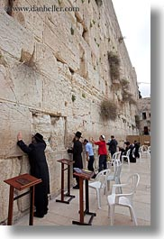 clothes, hats, israel, jerusalem, jewish, men, middle east, praying, religious, temples, vertical, walls, western, western wall, photograph