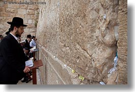 beards, clothes, hats, horizontal, israel, jerusalem, jewish, men, middle east, people, prayers, praying, religious, temples, walls, western wall, photograph