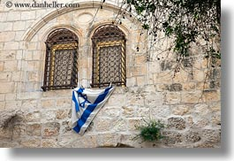 arches, flags, horizontal, israel, jerusalem, middle east, windows, photograph