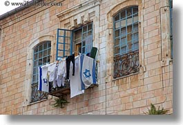 flags, horizontal, israel, jerusalem, middle east, windows, photograph