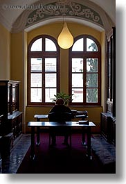desks, israel, jerusalem, lamps, middle east, vertical, windows, photograph