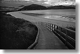 abel tasman, beaches, black and white, fences, horizontal, new zealand, ramp, photograph