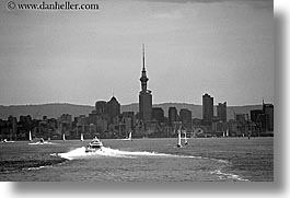 auckland, black and white, boats, cityscapes, horizontal, new zealand, photograph