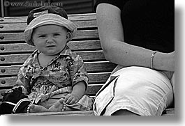 auckland, babies, benches, black and white, horizontal, new zealand, photograph