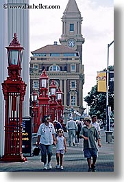 auckland, lamp posts, new zealand, people, red, vertical, photograph