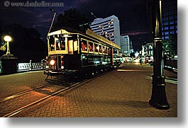 cable car, christchurch, horizontal, new zealand, nite, restaurants, photograph