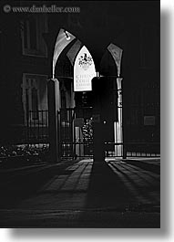black and white, christchurch, churches, new zealand, nite, vertical, photograph