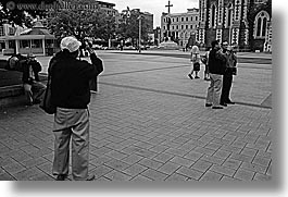 black and white, christchurch, horizontal, new zealand, tourists, photograph