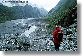 fox, fox glacier, glaciers, gorge, hikers, horizontal, new zealand, photograph