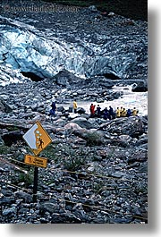 fox glacier, ice, new zealand, signs, slide, vertical, photograph