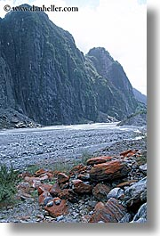 fox glacier, new zealand, rivers, valley, vertical, photograph
