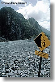 fox glacier, new zealand, rocks, signs, slide, vertical, photograph