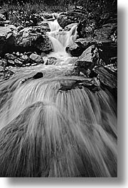 black and white, fox glacier, new zealand, vertical, waterfalls, photograph
