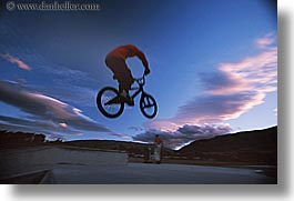 bicycles, clouds, horizontal, lake wanaka, new zealand, sunsets, photograph