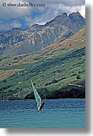 lake wanaka, lakes, new zealand, vertical, windsurfer, photograph