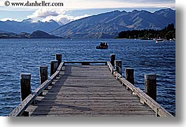 horizontal, lake wanaka, mountains, new zealand, piers, woods, photograph