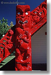 carvings, maori, new zealand, sculptures, vertical, woods, photograph