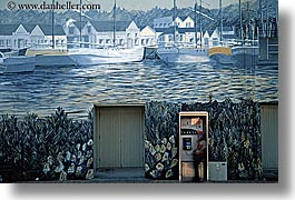 hokitika, horizontal, murals, new zealand, phone booth, photograph