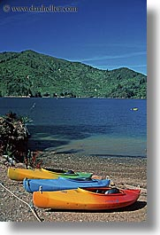 colorful, kayaks, new zealand, queen charlotte, vertical, photograph
