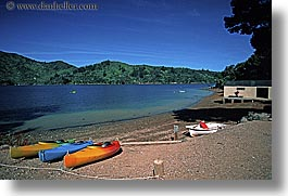 colorful, horizontal, kayaks, new zealand, queen charlotte, photograph