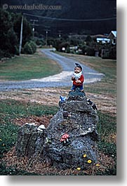 gardens, gnomes, new zealand, queen charlotte, vertical, photograph