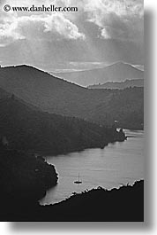 bay, black and white, lachmara, new zealand, queen charlotte, vertical, photograph