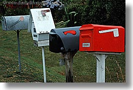 horizontal, mailboxes, new zealand, queen charlotte, photograph
