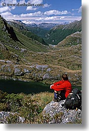 hikers, lakes, new zealand, routeburn, scenics, vertical, photograph