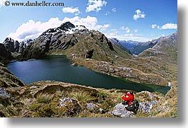 hikers, horizontal, lakes, new zealand, routeburn, scenics, photograph