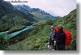 couples, hikers, horizontal, lakes, new zealand, routeburn, scenics, photograph