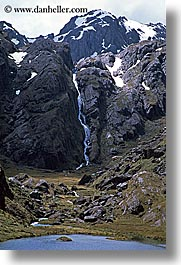 lakes, mountains, new zealand, routeburn, vertical, waterfalls, photograph