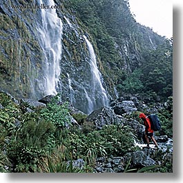 hiking, new zealand, routeburn, square format, waterfalls, photograph