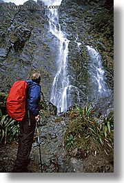 hiking, new zealand, routeburn, vertical, waterfalls, photograph