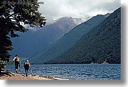 couples, hikers, horizontal, lakeside, new zealand, scenics, photograph