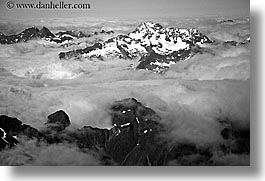 black and white, horizontal, mountains, new zealand, snowcaps, southern alps, photograph