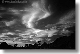 black and white, clouds, fiery, horizontal, new zealand, sunsets, photograph