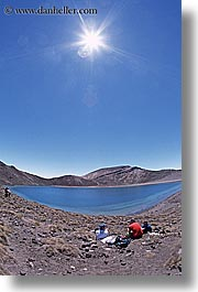emerald, hikers, lakes, new zealand, sun, tongariro crossing, vertical, photograph