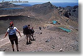 emerald, hikers, horizontal, lakes, new zealand, tongariro crossing, photograph
