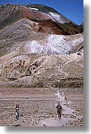 faraway, hikers, new zealand, tongariro crossing, vertical, volcano, photograph