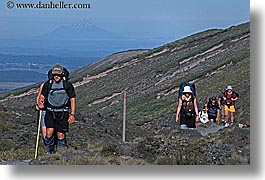 hikers, horizontal, new zealand, tongariro crossing, photograph