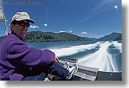 boating, fun, horizontal, motion blur, new zealand, wilderness travel, womens, photograph